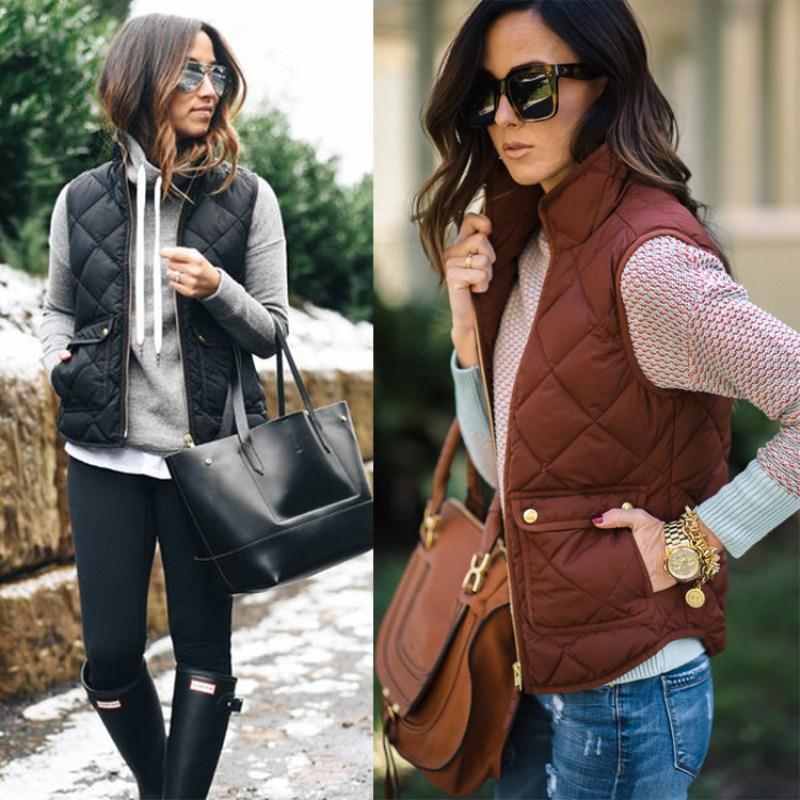 새로운 여성 패션 따뜻한 패딩 Gilet 민소매 조끼 재킷 코트 주머니 양복 조끼 겨울