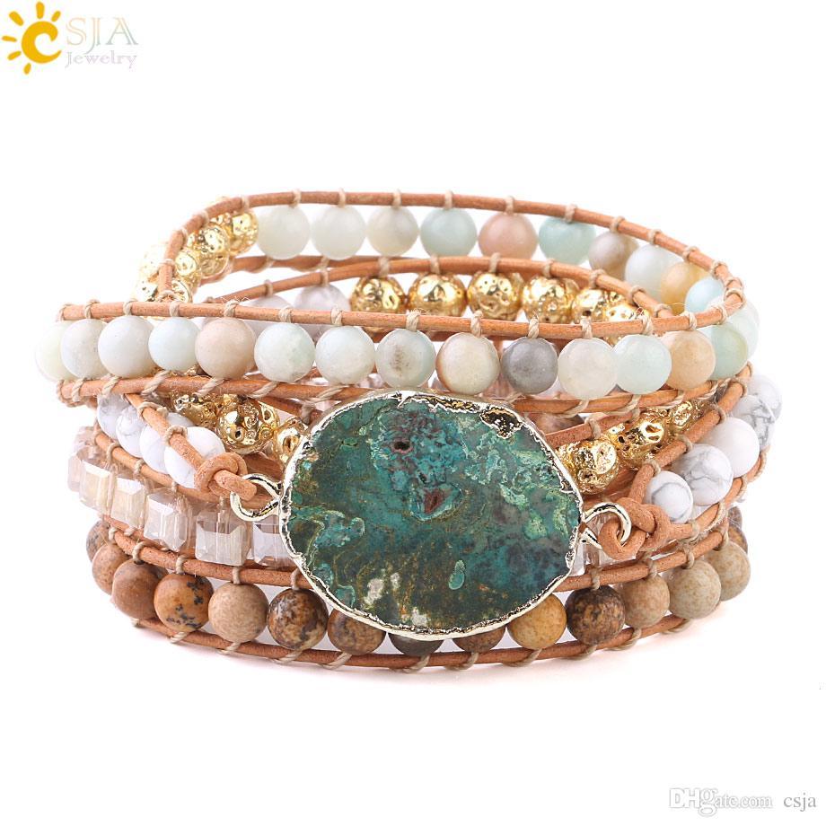 CSJA Women Wrap Bracelets Natural Gemstone Beads Ocean Agate Charms Gold Beaded Jewelry 5 Strand Girl Friendship Boho Bracelet Dropship S217
