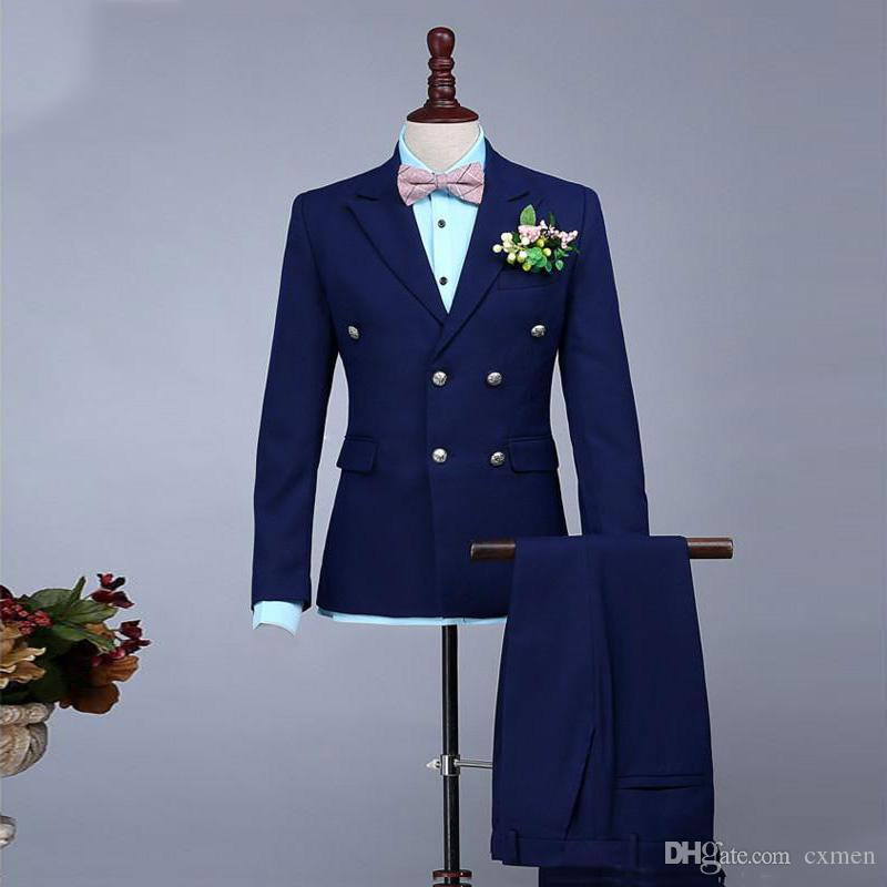 Erkek Düğün Suit Çift Breasted Lacivert Damat smokin Yaka Groomsmen Aşınma Prom Giyim 2 adet Sağdıç Blazers Damat Giydir Peaked