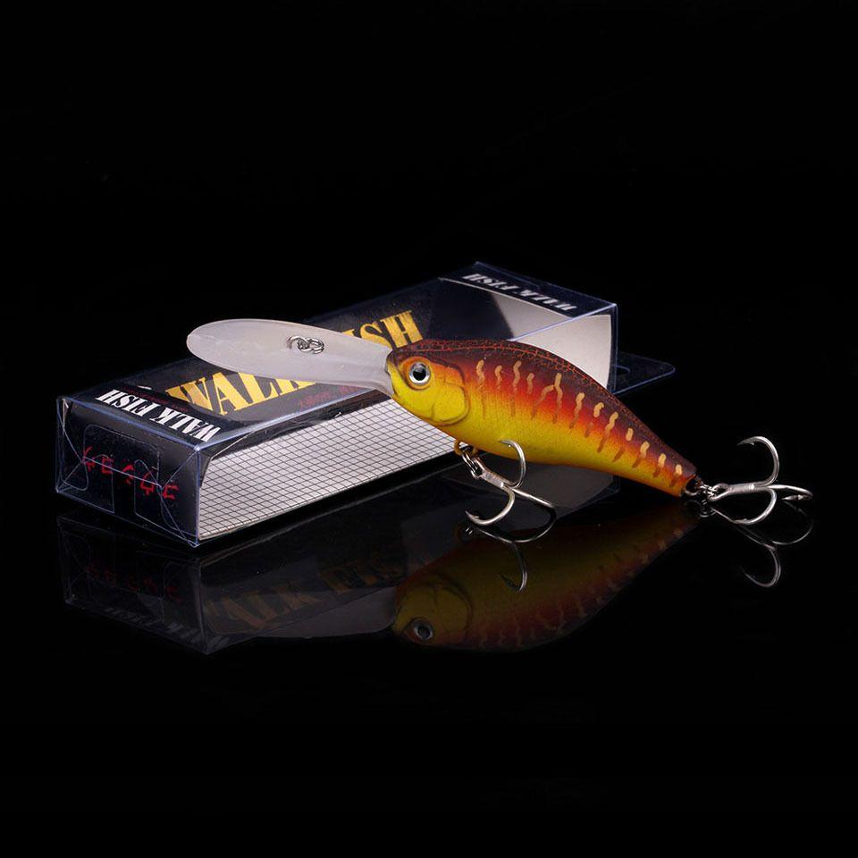WALK FISH 1PCS Minnow Fishing Lure 10.5cm 14.8g Floating Crankbait Artificial Hard Bait Bass Pike Wobbler Long Tongue Minnow Y18100906