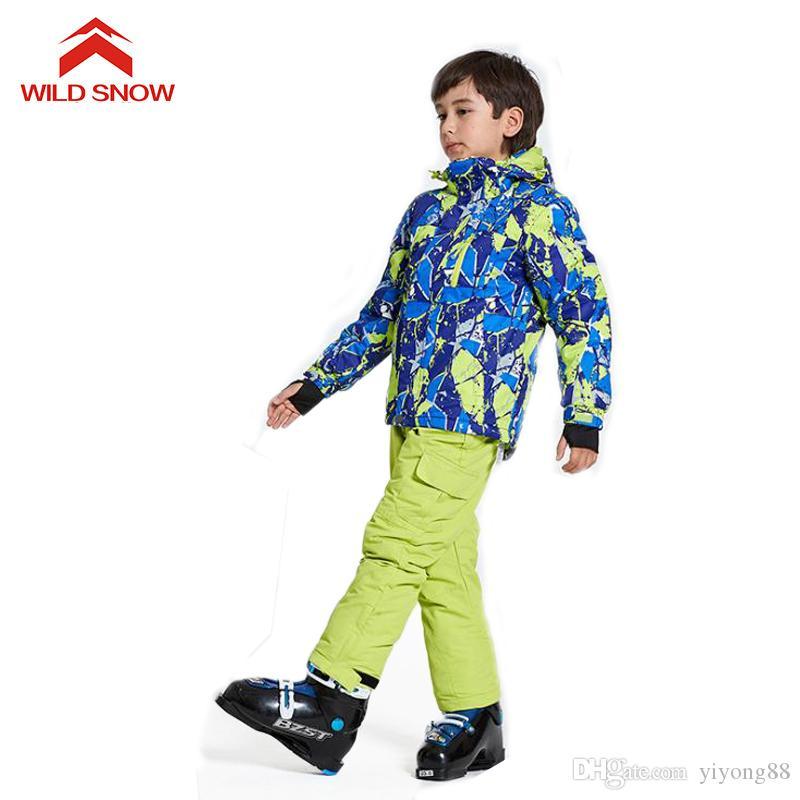 WILD SNOW мальчиков / девочек лыжный костюм ветрозащитный снежным куртку Зимние виды спорта по уходу за детьми утолщенной одежды 3 цвета, D110