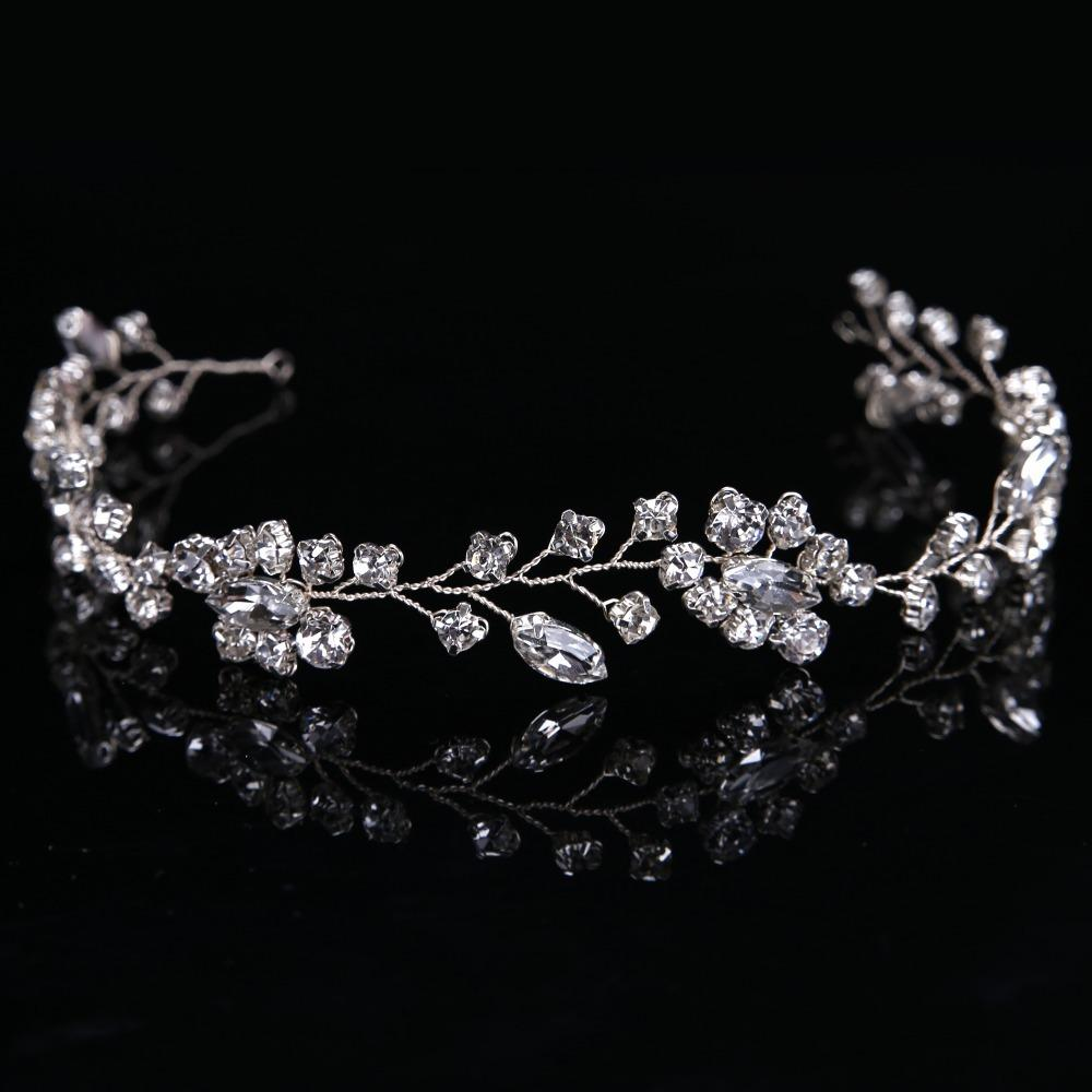 Gorgeous Handmade crystal headbands for women hair jewelry forehead hair ornaments silk band bridal crown wedding accessories S918