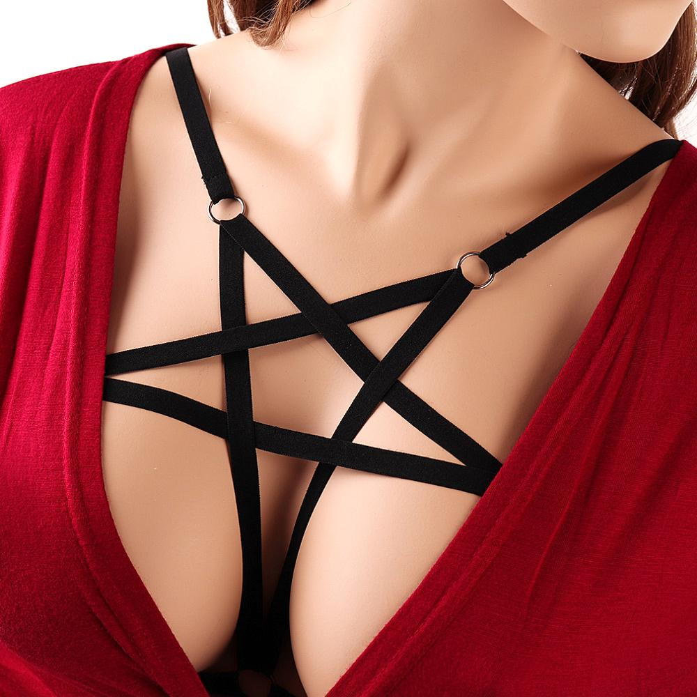 KAYIZAN Pentagram Women Fetish Wear Harness Bondage Belt Body Cage Bra Elastic Body Harness Bra Tops Fetish Rave Wear Cage