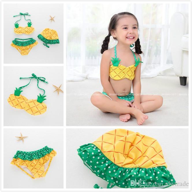 Kawaii Summer Yellow Ananas Due pezzi Halter Hanging Neck Costume da bagno con cappelli Dot stampato frutta Bikini ragazze spa costumi da bagno 5 pezzi un lotto