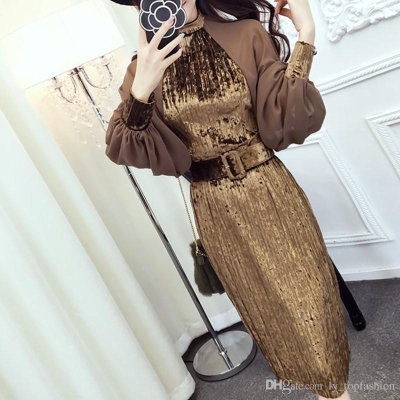 الجديدة 2020 العلامة التجارية الفوانيس مصمم الأزياء الفاخرة النساء اللباس أزياء المدرج مصمم المخملية فستان من الشيفون الأكمام الذهب فستان المخمل
