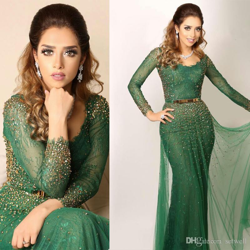 Setwell Saudi Arabic Green Evening Dresses Bateau Lace Crystal Beaded Sheer Long Sleeves Prom Gowns Mermaid Dress Evening Wear