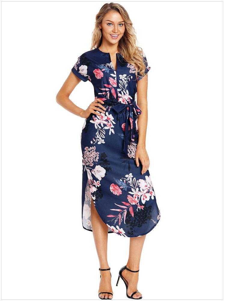 Vestidos Playa Verano 2018 Bohemian Wrap Sukienka Summer Sukienki Kobiety Navy Pink Floral Print Ołówek Boho Sukienka Rozmiar S M L XL XXL DLM610089