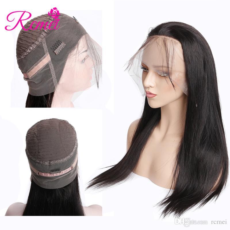 Pelucas brasileñas del pelo recto de Rcmei Pelucas delanteras del cordón 360 de Pre-Pluked Pelucas del cabello humano de la densidad del 150% Color natural Envío libre 10-24 pulgadas