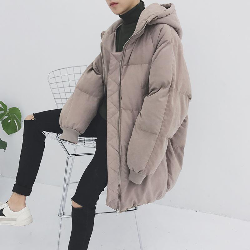 Estilo Nuevo Sombrero Suelto Medio Largo Cálido Algodón acolchado Engrosado chaqueta para jóvenes Chaquetas y abrigos de invierno para hombre