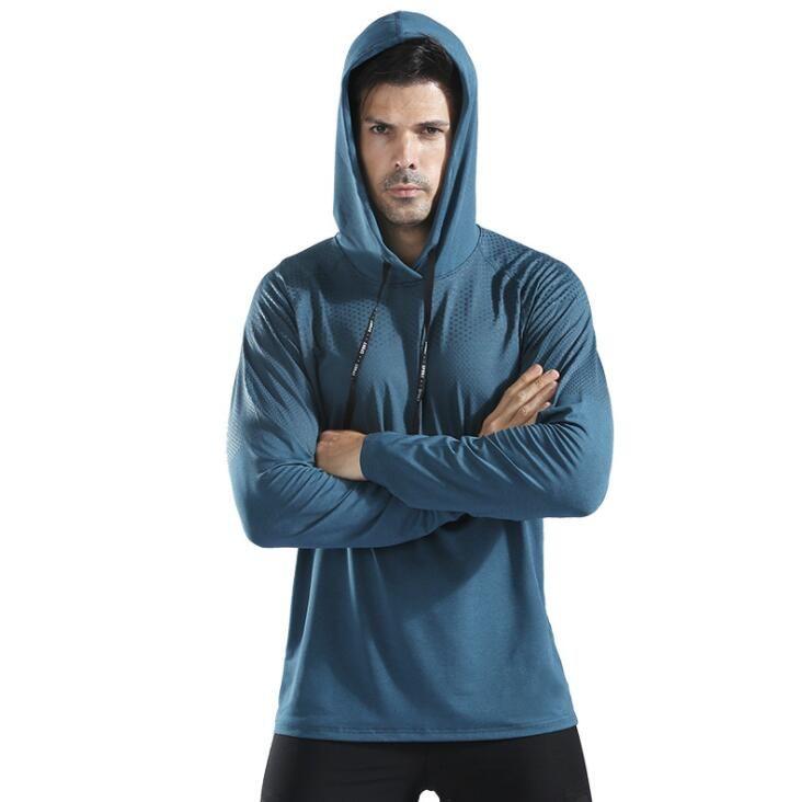 Erkek tasarımcı kazak kapüşonlu kazak ince kaput çabuk kuruyan spor giyim koşu eğitim giysi spor uzun kollu Tişört
