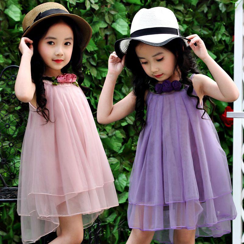 Baby Girl Roses Vestido de princesa de flor Vestido sin mangas Vestido de verano Hasta la rodilla Vestido de gasa 2 colores
