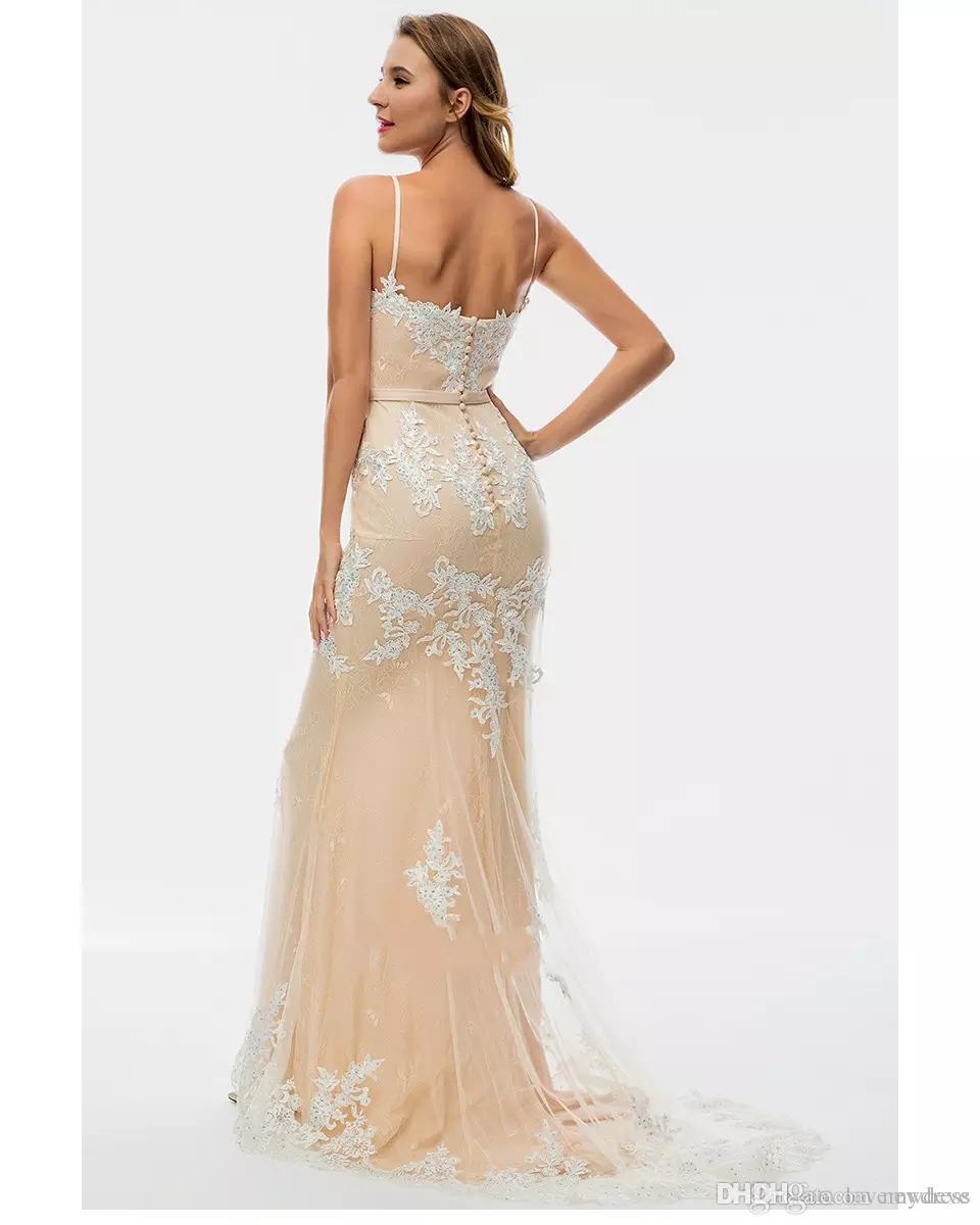 Großhandel Champagner Und Elfenbein Elegante Abendkleider 18 Spaghetti  Schatz Applique Perlen Rückenfreie Besondere Anlässe Kleid Angepasst Prom