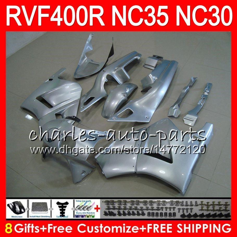 RVF400R Para HONDA VFR400 R NC30 V4 VFR400R 89 90 91 92 93 82HM.8 RVF VFR 400 R NC35 VFR 400R Prata brilhante 1989 1990 1991 1992 1993 Carenagens