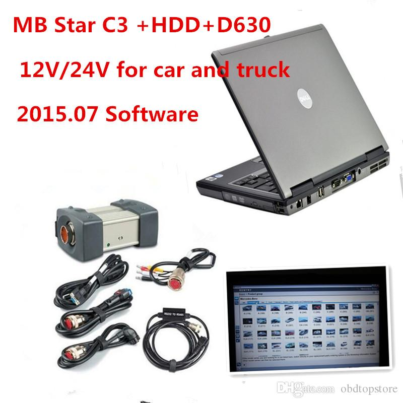 Super MB C3 Estrela Diagnóstico Multiplexer com Relé Vermelho + 2015.07 Software HDD + Cinco Estrelas Diagnóstico Cabos e D630 Pronto para uso