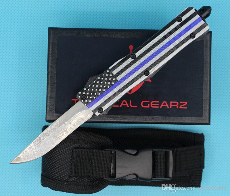 New Blue Flag 7 Inch 616 Mini Auto Tactical Knife Damascus Steel Single Drop Point Fine Edge Blade EDC Pocket Knives