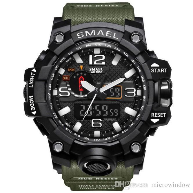 Homens relógio militar 50 m relógio de pulso à prova d 'água levou relógio de quartzo relógio do esporte masculino relogios masculino 1545 esporte s choque relógio homens novo estilo