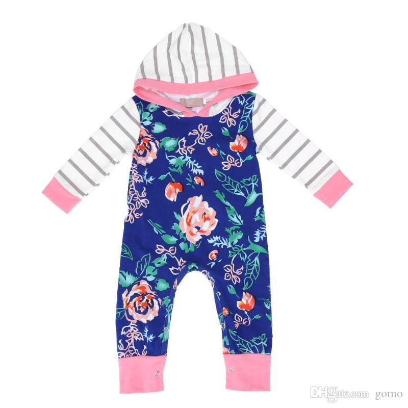 Herbst scherzt Baby-Streifen-Rosen-lange Hülsen-mit Kapuze Baumwollbeiläufiger Spielanzug-mit Kapuze Spielanzug-Overall-einteilige Kleidung