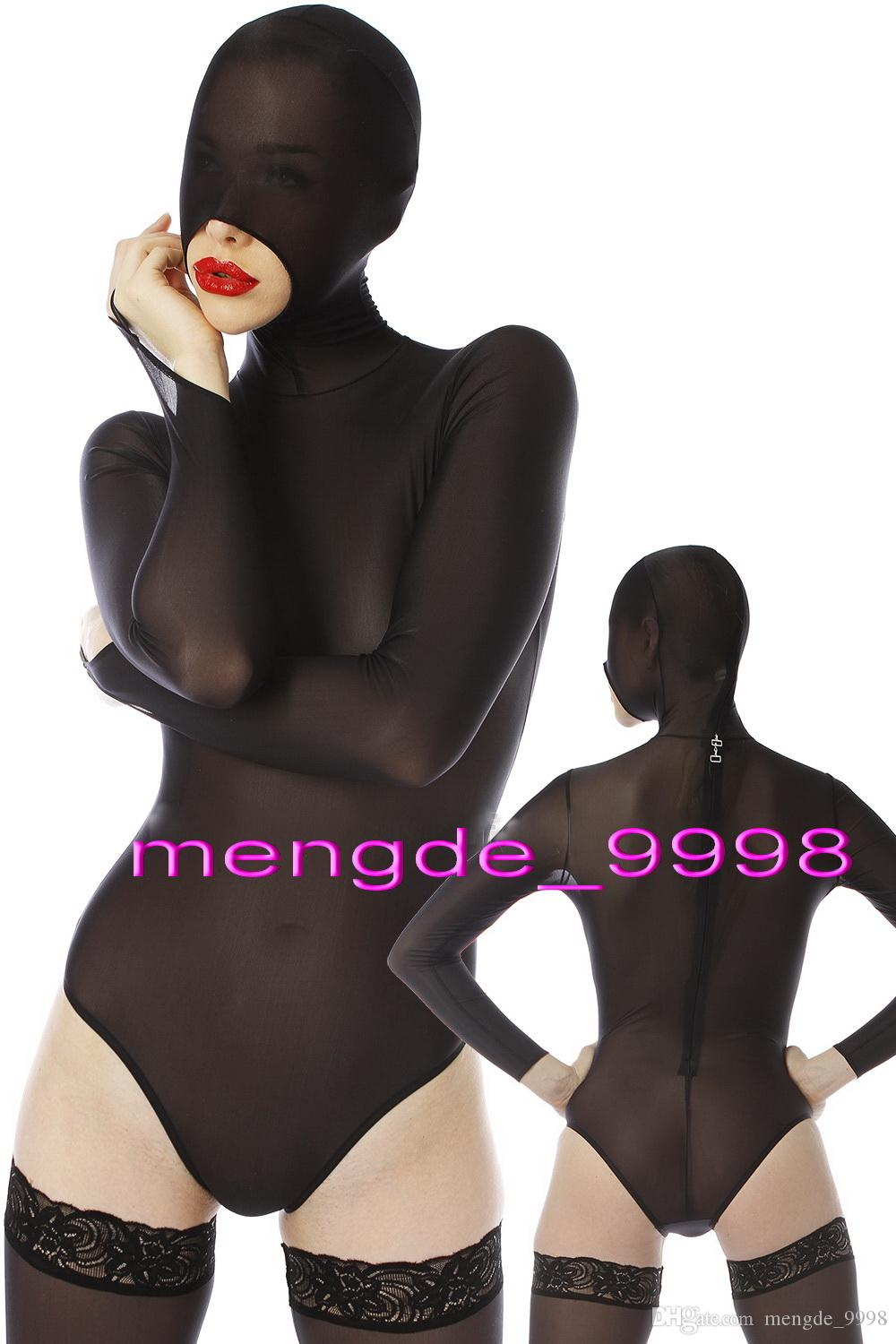 Black Spandex Silk Short Catsuit Costumes Unisex Sexy Short Body Suit Costumes Unisex Bodysuit Fancy Dress Party Cosplay Costumes M301