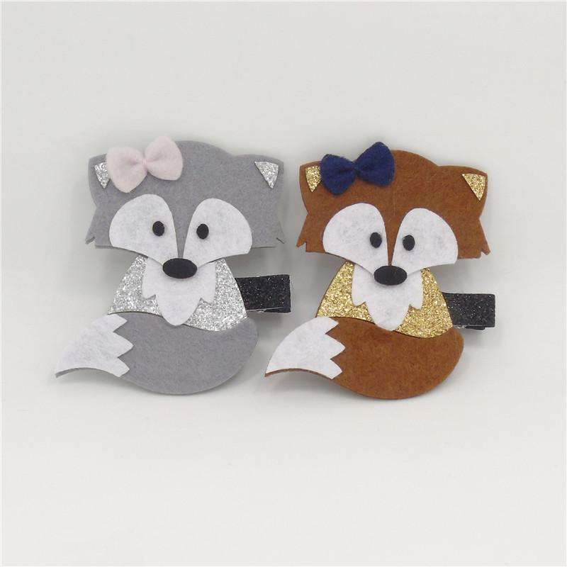 10pcs / Lot Felt Brown Fox Clip di capelli Woodland Cartoon Animal Glitter Autunno Autunno Foto Prop Barrette grigio Handmade Mini Bow Tornante