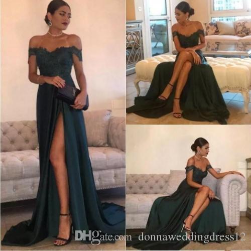 Dark Green 2019 Sexy Prom Dresses A Line Chiffon Off-the-Shoulder Floor-Length High Side Split Lace Elegant Long Evening Dress Formal Dress