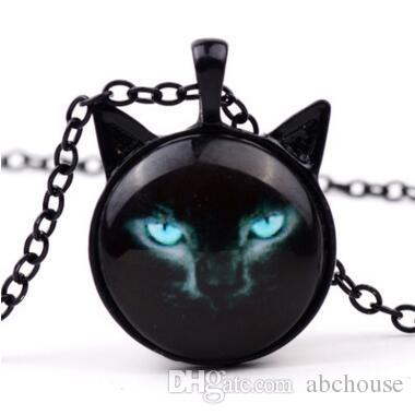 New Black Cat Glass Cabochon Necklace Silver Bronze Cat Ear Frame Pendants Fashion Jewlery Gifts for Women Kids 3 Colors