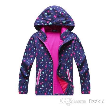 Новая весна осень дети дети куртки пальто большие девочки ветрозащитный водонепроницаемый куртки высокое качество девушки звезды куртки
