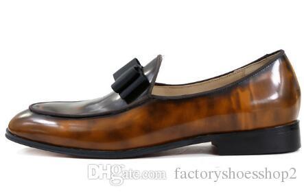 Nuovi uomini di moda in pelle bowtie scarpe fatte a mano scarpe di lusso appartamenti da uomo banchetto di nozze classico mocassini scarpe