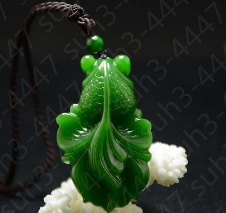 Jade vert Goldfish Pendentif Collier Charme Bijoux Accessoires De Mode Chaud