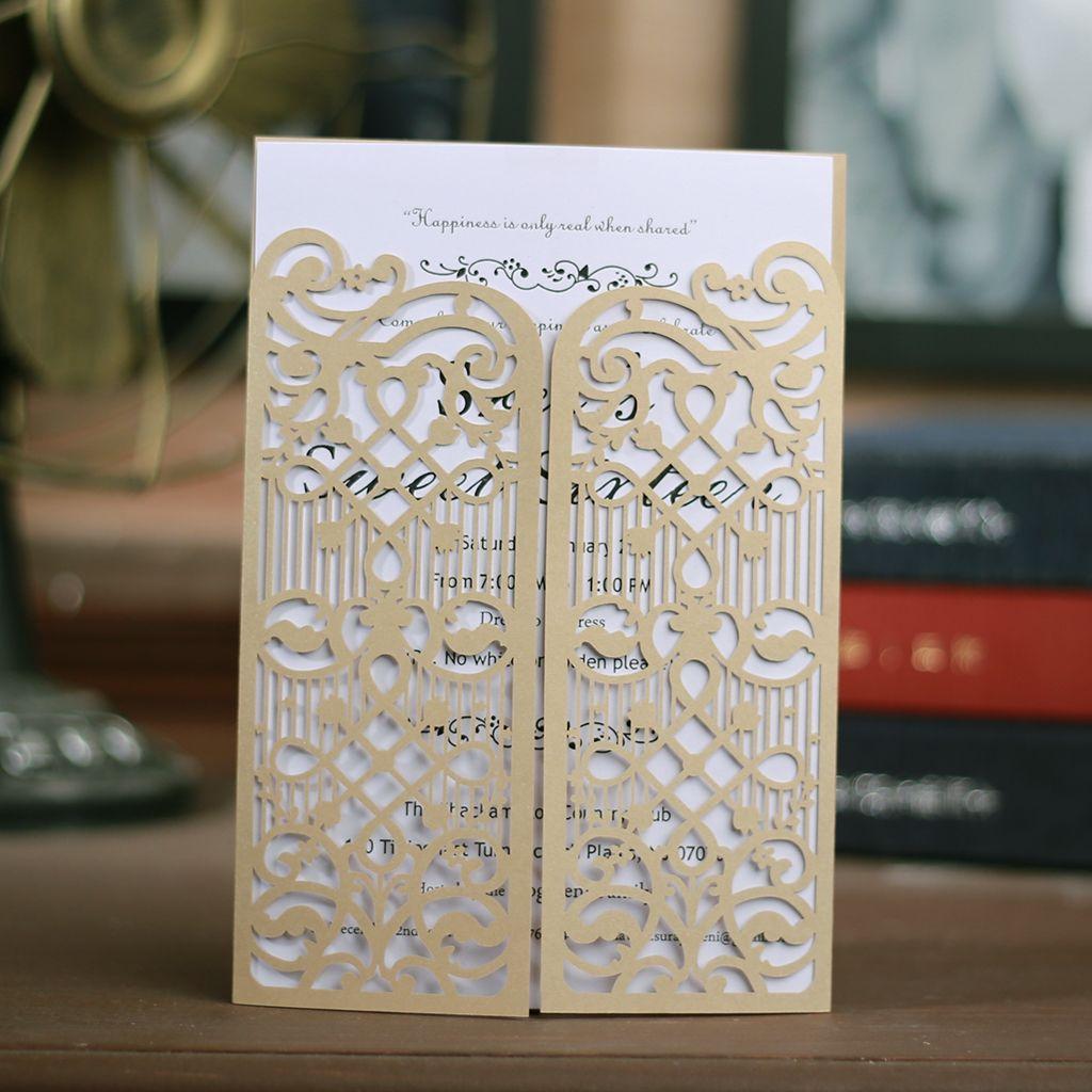 Corte láser invitaciones de la boda del OEM en 41 colores personalizados hueco con plegable invitación personalizada Puertas boda tarjetas # BW-I0307