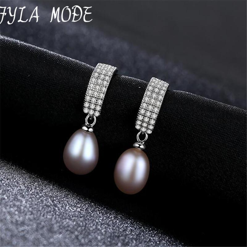 Fyla Mode Fashion Pearl Earrings 925 Sterling Silver 8-9mm White Pink Purple Freshwater Natural Pearl Personality And Elegant S18101307