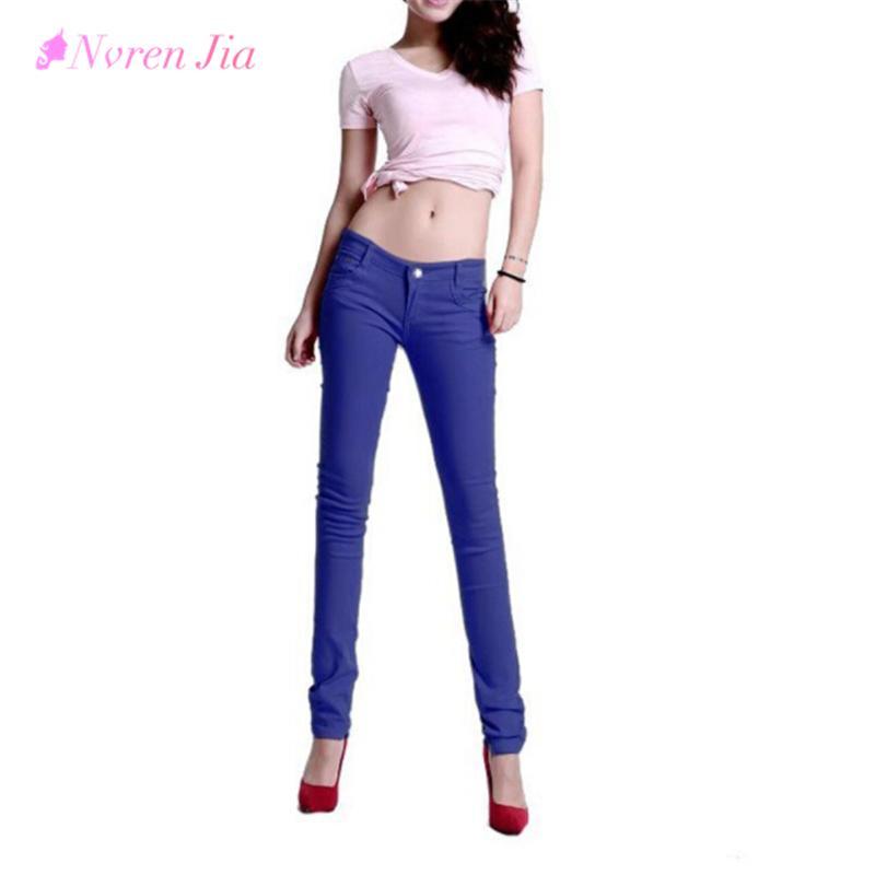 Las nuevas mujeres coreanas del lápiz de los pantalones del color del caramelo Skinny Jeans Women Hips Fitness pantalones femeninos Jeans más tamaño 2018