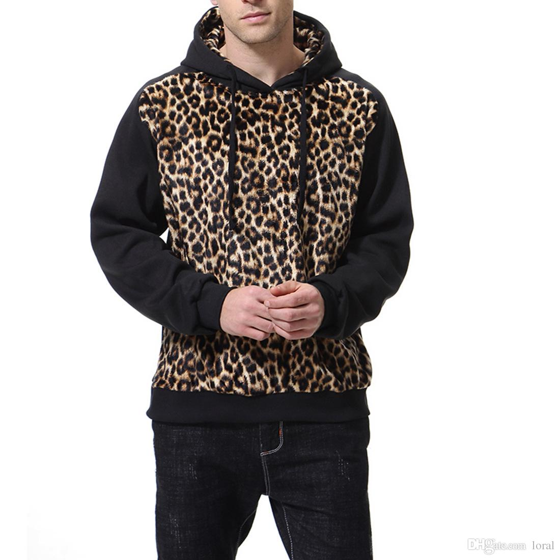 dcb2d8de9ccd 2019 Leopard Printed Mens Designer Hoodies Casual Hip Hop Thin Panelled  Hooded Sweatshirts Male High Street Pullover From Quota, $44.78 | DHgate.Com