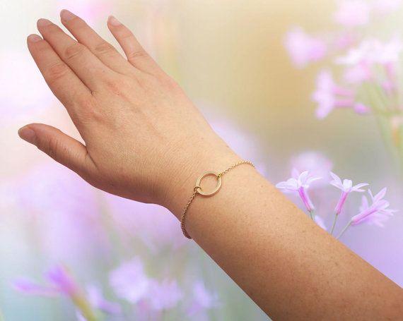 eternidad karma círculo pulsera hueca Pulseras redondas Oro plata Simple delicado Círculo abierto Pulseras Círculo Esquema Collar