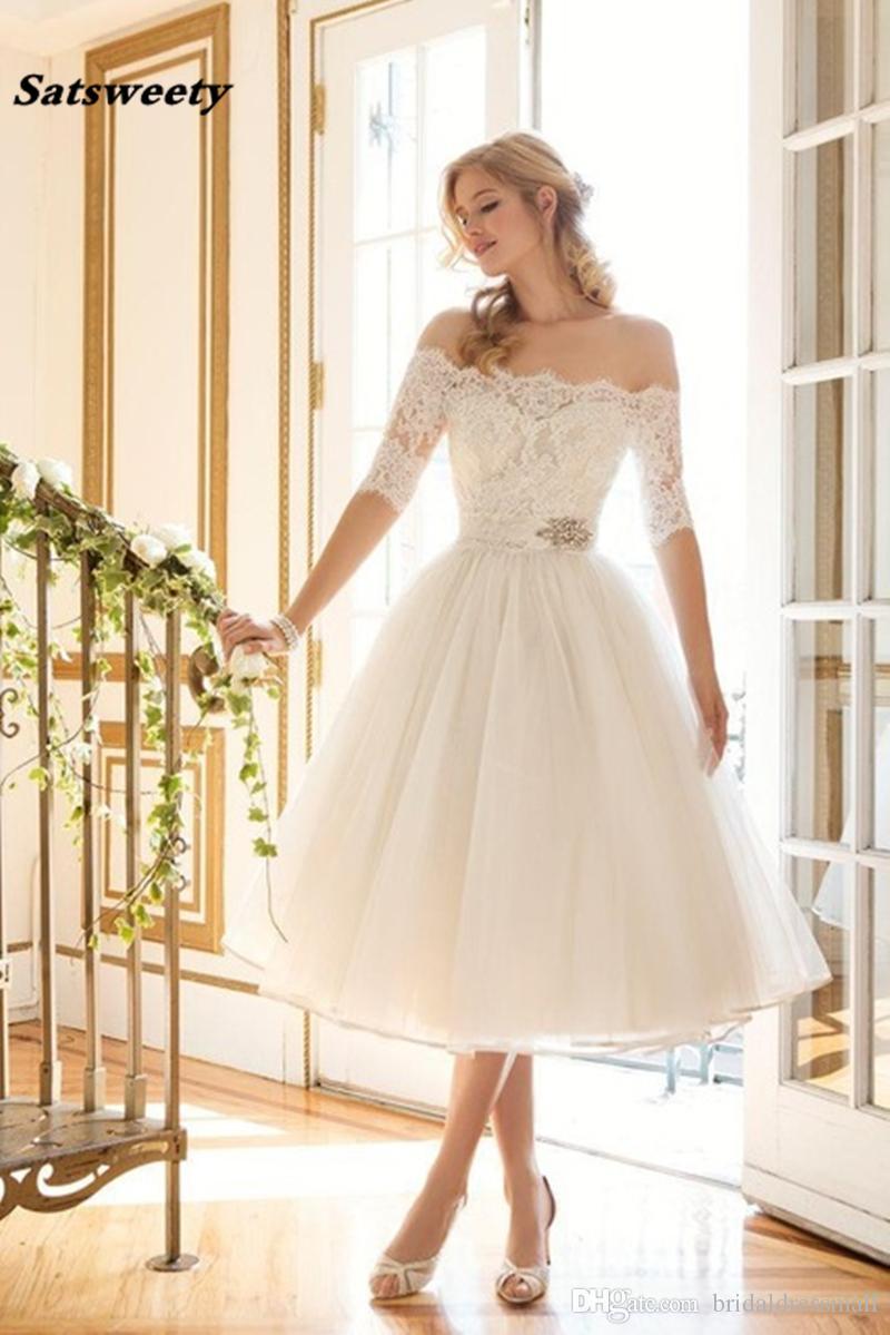 Elegant Lace/Organza Off the Shoulder Boat Neckline Half Sleeve Tea Length Vintage Wedding Dress Vestido De Noiva