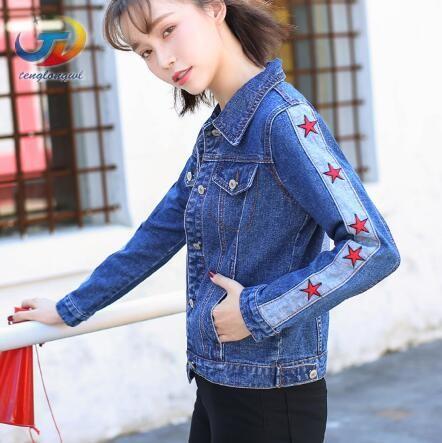Compre Tenglongwl 2018 Cintura Alta Azul Marino Bordado Jean Chaqueta Ripped Mujer Star Denim Jacket Coat Mujeres Rojo Estrella Más Tamaño A $14.41