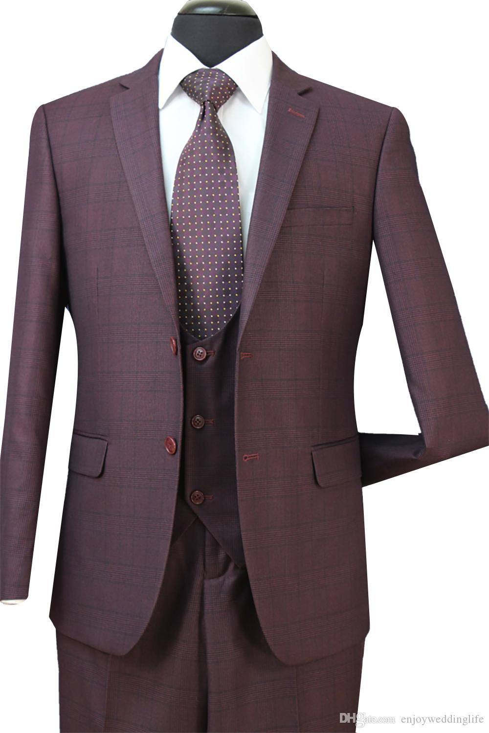 2018 Nouveau 3 PCS Grooms Hommes Smokings Costumes Formels Pour Les Mariages Mince Plaid Meilleur Mens Costumes (Veste + Gilet + Pantalon) ST005