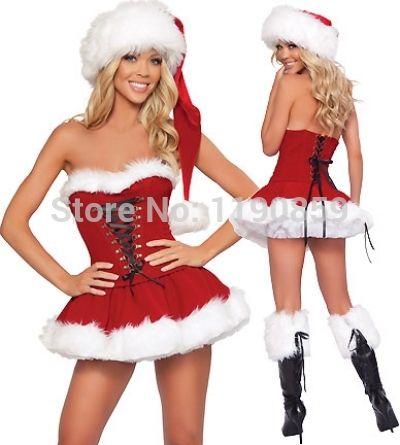 뜨거운 판매 섹시한 크리스마스 의상 성인 빨간 Strapless 코르셋 탑 + 치마 + 모자 산타 클로스 의상 판타지 관능적 인 여성