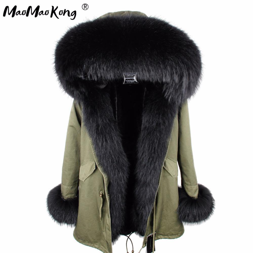 Mini True Fur Parka Frauen Jacke Winter Kapuzen Warme Waschbär Pelz Natürliche Waschbär Casual Parkasfaux MantelFutter