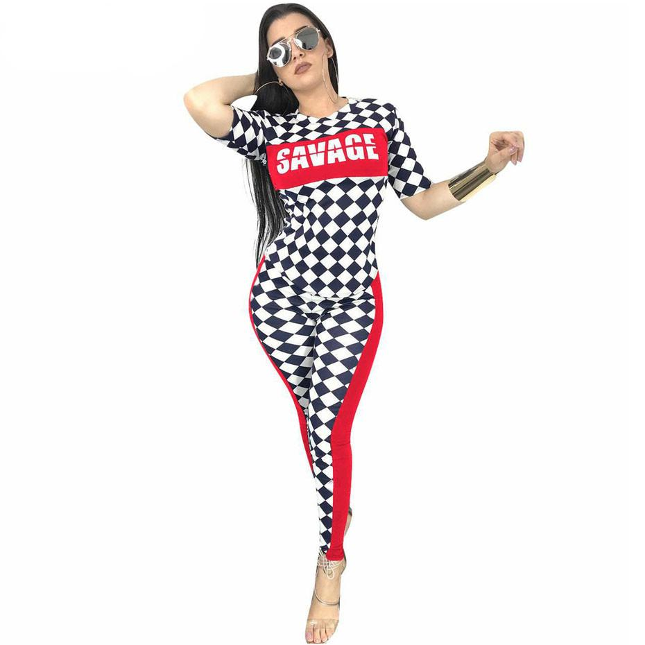 2 Piece Set Women Checkerboard Plaid Letter Print Tops And Bodycon Pants Suit Tracksuit Two Pieces Sexy Summer Outfits Female