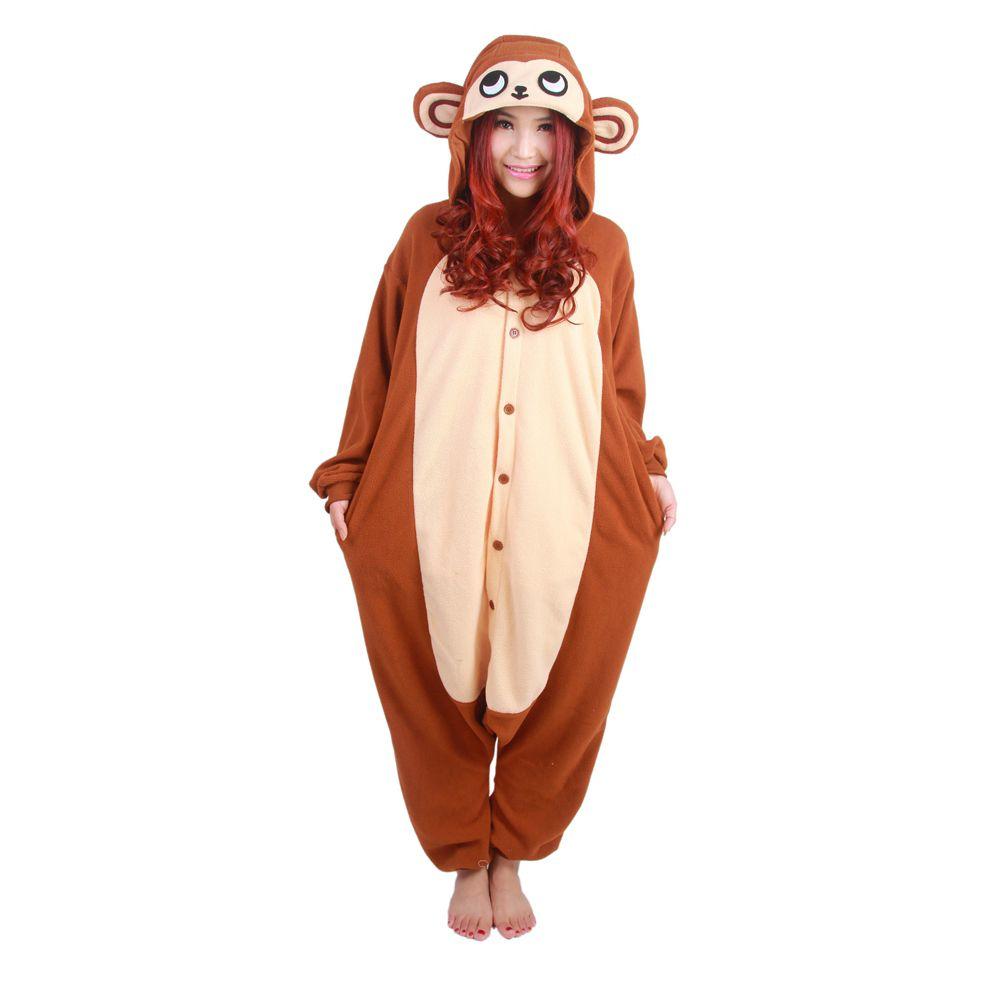nuovi arrivi d2693 3bfb2 Acquista Pile Di Scimmia Polare Pigiama Animale Anime Uomini Donne Coppie  Inverno Pigiama Cartoon Cosplay Adult Onesies Caldo Costume Di Halloween A  ...