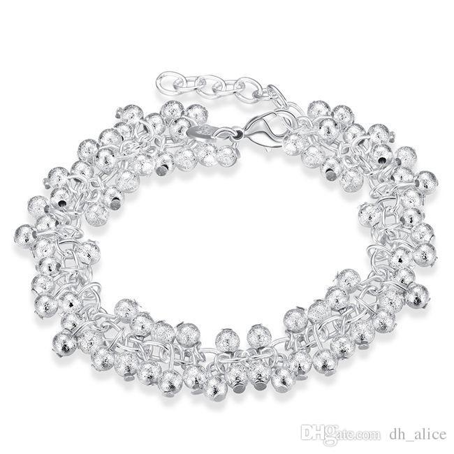 arena de plata vid luz pulsera de plata esterlina chapada SPB232 brazalete; venta de los hombres y mujeres de plata 925 pulsera de Link, la cadena