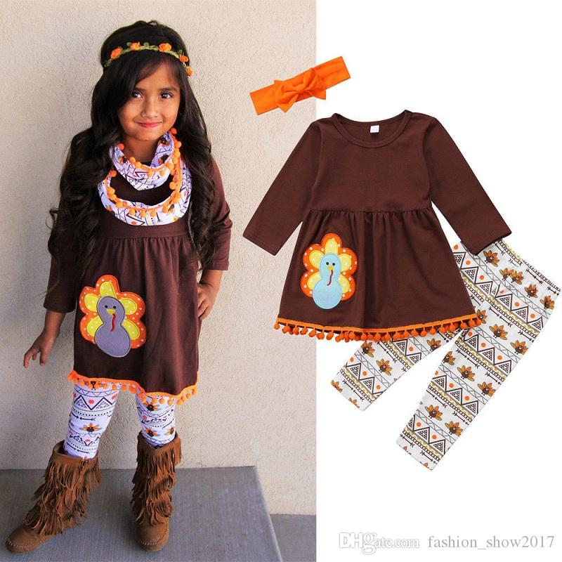 Baby Girls Thanksgiving Day Turkey Outfits Long Sleeve Stripes Ruffle Dress
