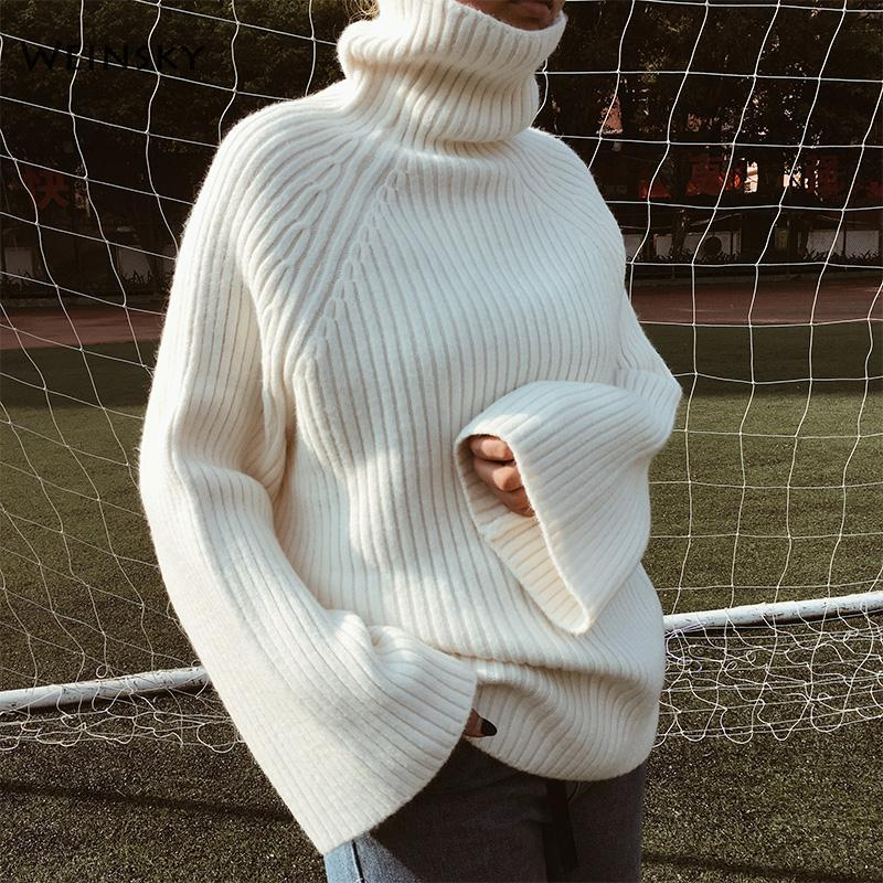 Weinsky Wool blend Women Thick Knitted Sweaters And Pullovers Ladies Autumn And Winter 2018 Oversized Sweaters Pink White Yellow