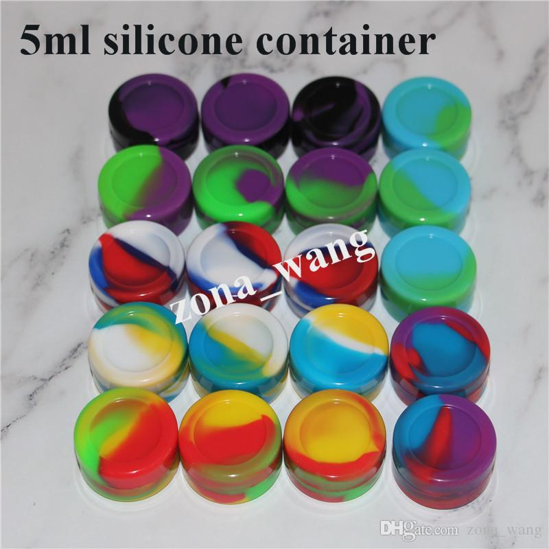 Venta al por mayor 5 ml de grado alimenticio contenedor de silicona cera contenedores de silicona para cera 5 6 7 10 22 26 ml