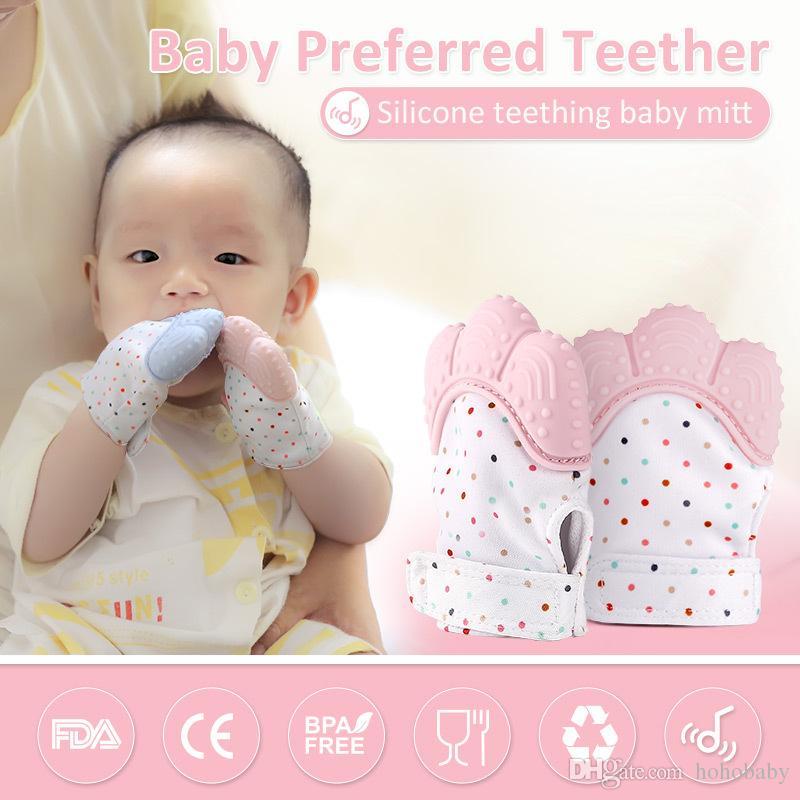 UK Baby Silicone Dinosaur Teether Glove Teething Mitten Mitt Wrapper Dummy Toy