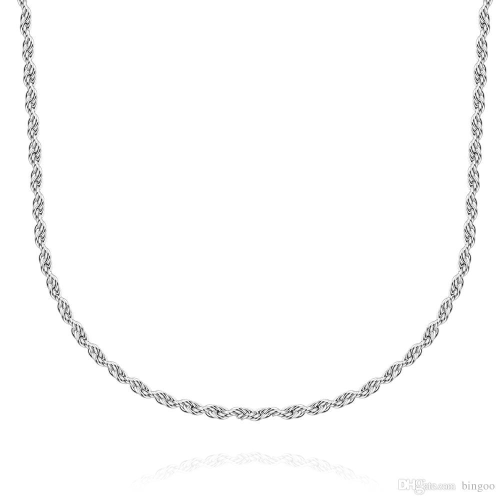 Moda Takı Erkek / Bayan twist Chain 2 mm 18/20/22/24/28 İnç için% 100 Paslanmaz Çelik Kolye