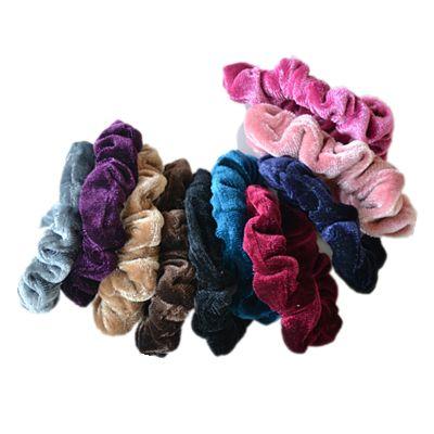 10 pcs/lot Luxurious Soft Feel Velvet Headwear Scrunchie Ponytail Donut Grip Loop Holder Stretchy Elastic Hairbands