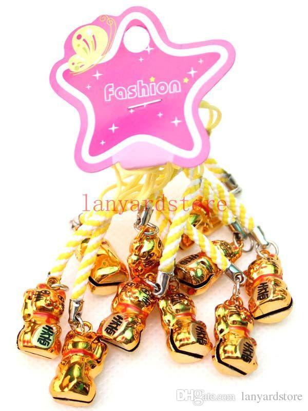 Chaud! Deux style de couleur Un chat d'or Fortune Chat Téléphone portable Charme couleur Strap Porte-clés Mixte Petite Cloche Charme 20 pcs livraison gratuite