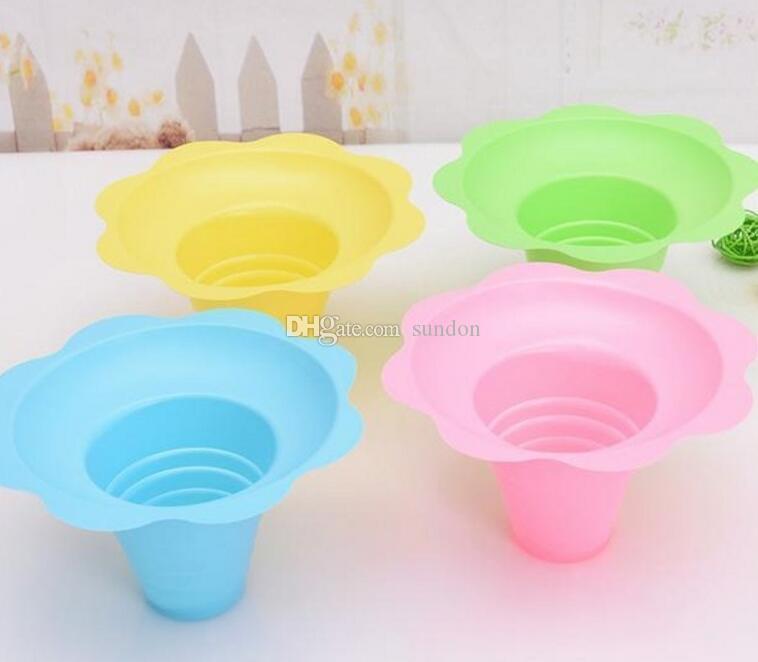 1000pcs / lot crème glacée en plastique jetable Parfait sundae tasse fleur forme tasses bols 250ML événement fête mariage