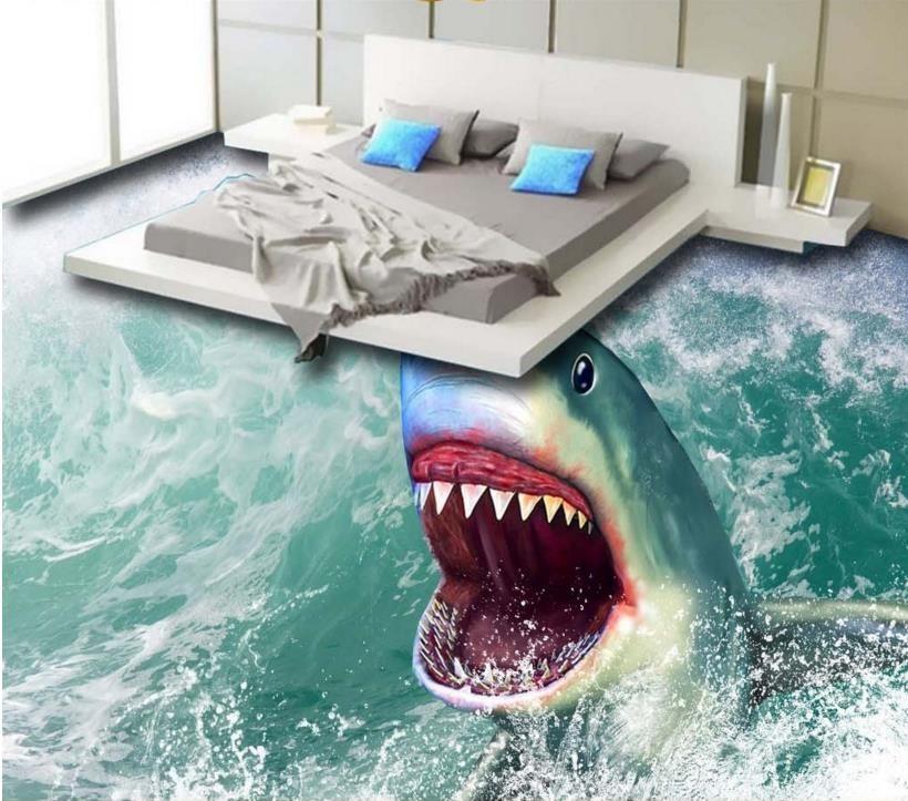 Personalizza 3D Pavimentazione Sea Shark Wallpaper Durals 3D Murales per lo sposo di Livin Bathroom 3D Stricita stereoscopica